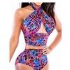 Women's Summer Color Contrast Sexy High Waist Bikini Set