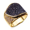 Gold Color with Black White Cubic Zircon Women'sRing
