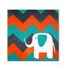 Nicole Dietz Elephant on Chevron Canvas Print