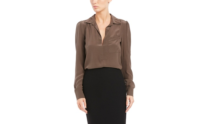 cd2e0d5dbd1c57 LAVENDER BROWN Long Sleeve Silk Blouse