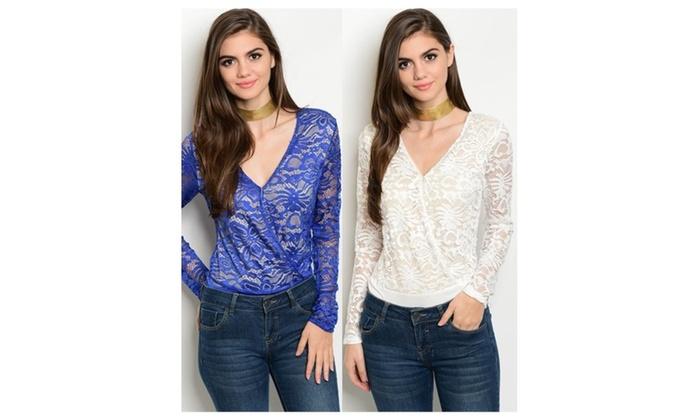 V Neck Sheer Long Sleeve Lace Bodysuit Tops