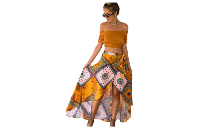 Women's Boho Dream Tie Waist Tribal Print Asymmetrical Maxi Skirt - one size