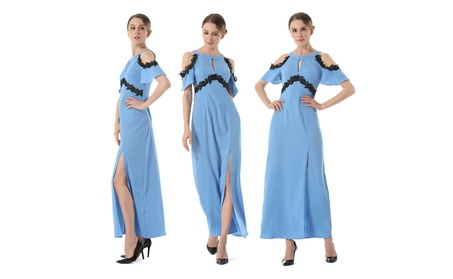 Women's Ribbed Cold Shoulder Prom Dress 235cdffb-f3be-4304-9d33-c7c2066f52b9