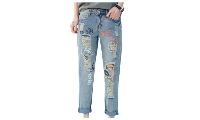 Women's Print Sayings Loose Ripped Destory Denim Jeans