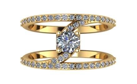 1.50 CTTW Round Cut Diamonds Anniversary Ring Set in 14K Yellow Gold