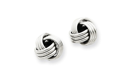 IceCarats Designer Jewelry 14k White Gold Ridged Love Knot Post Earrings