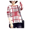 Women's Loose Crew Neck Plaid Pullover Wool Sweater