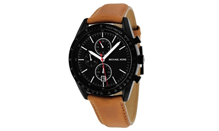 62f1e7608835 New Mens Michael Kors Accelerator Brown Leather Strap Watch MK8385 ...