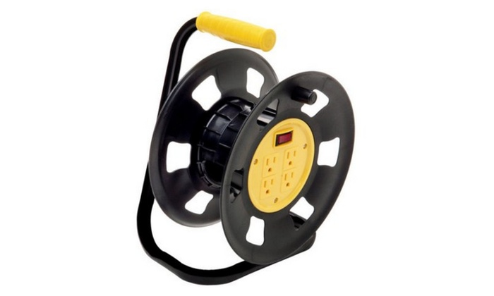 Retractable Extension Cord Storage Reel, Multi-Outlet Adapter