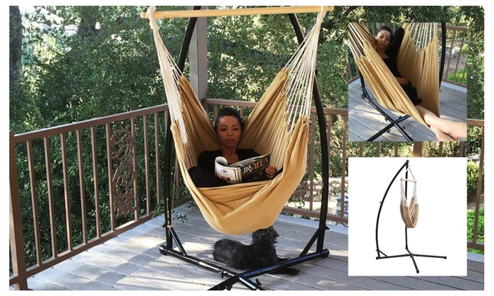 Apontus Cotton Rope Chair and C-Frame Hammock Steel Stand ...