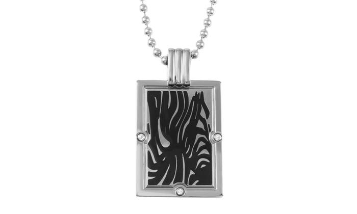 Groupon Goods: TITANIUM PENDANT WITH BLACK ENAMEL AND DIAMOND