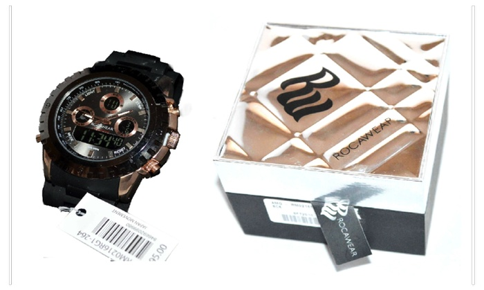 Mens Rocawear Analog Watch Black Band Stylish Bracelet Xmas Gift