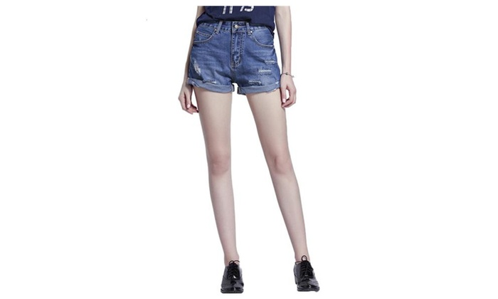 Women's Fashion Roll Regular Fit Fit Relaxed Denim Mid Shorts