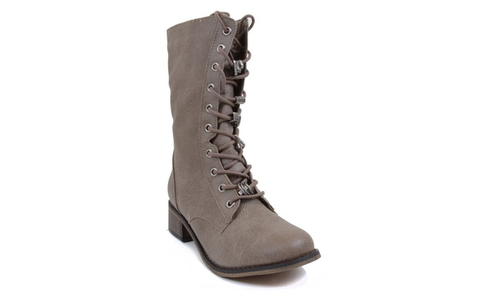 Lace up with Rings 10i Combat Biker Mid-calf Boot Beige