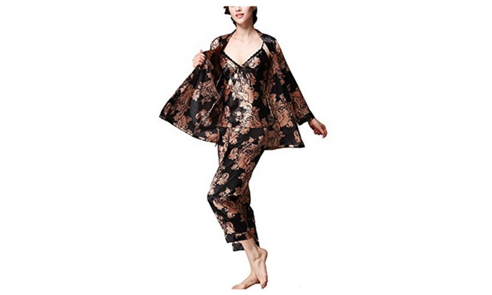 4PING Womens Satin Lightweight Paisley Long Sleeve Pyjamas