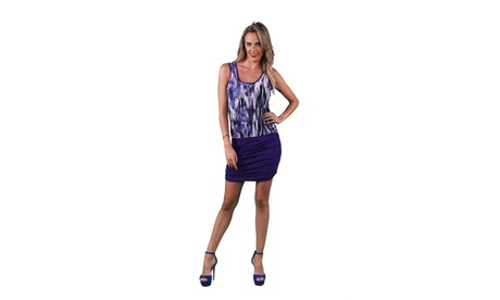 24/7 Comfort Apparel Women's Purple Brush Stroke Print Ruched Dress 7526a30d-b57e-4169-a8e8-9e2747ec4a66