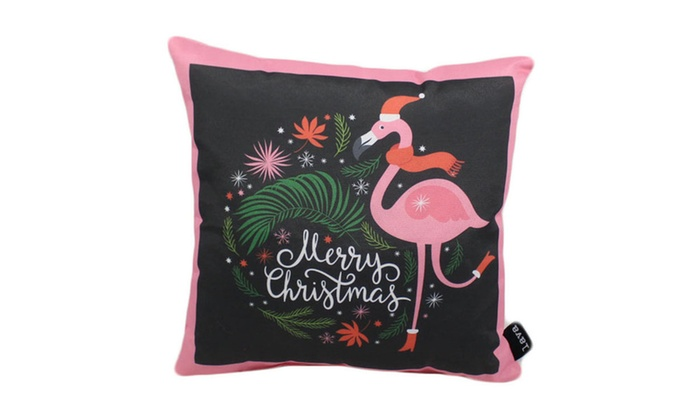 groupon goods lava home decorative flamingo merry christmas outdoor pillow 16x16 - Christmas Outdoor Pillows