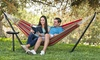 Outdoor Patio Portable Double Hammock w/Stand & Carrying Case