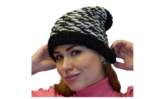 Women's Winter Warm Thick Oversize Knitted Beanie Hat with Pom Pom