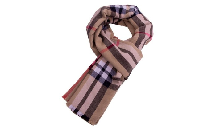 Women's Straight Checkers Midweight Woven Colorblock Scarf