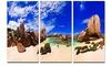 Tropical Beach at Seychelles Landscape Metal Wall Art 36x28 3 Panels