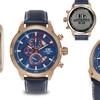 Ulysse Girard Masson Chronograph Mens Watch Blue/Rose Gold