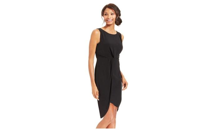Women's Black Draped Midi Dress