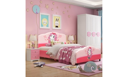 Kids Children Upholstered Platform Toddler Bed Bedroom Furniture Girl Pattern