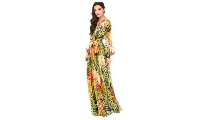 cb5da9250ead V-Neck Long Sleeve Chiffon Maxi Dress