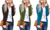 Women Cotton Sweet Solid Color Button Front Cardigan Long Sleeve Casual Tunic