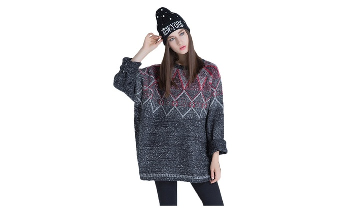 Women's Casual Crew Neck Drop Shoulder Loose Pullover Knit Sweater