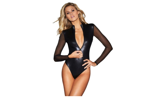Women's Black Mesh Long Sleeve Zip Front Leather Bodysuit