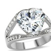 Cubic Zirconia Heart Solitaire Engagement Stainless Steel Ring
