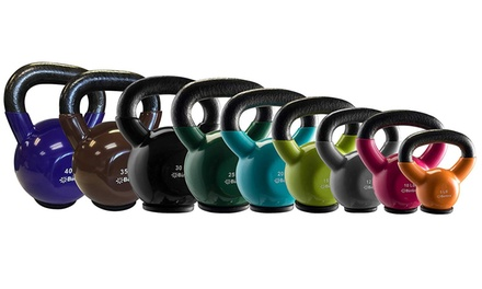 Professional Grade Vinyl Coated bintiva Kettlebells Solid Cast Iron Weights with a Special Protective Bottom