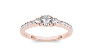 De Couer 14k Rose Gold 1/2ct TDW Diamond Three-Stone Ring (H-I, I2)
