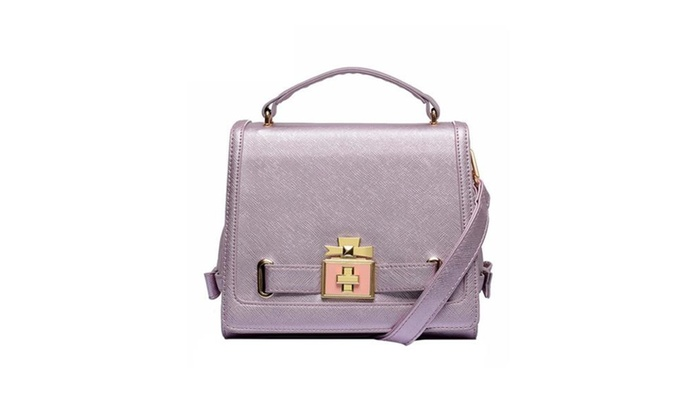 Fecland Women's Turn Lock Shoulder Handbag