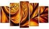 Golden Leaf Metal Wall Art 60x32 5 Panels