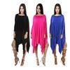 Women's Oblique Shoulder Batwing Sleeve Irregular Loose Poncho Dress