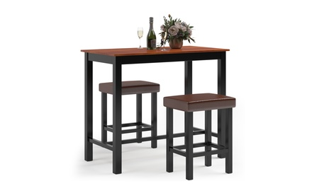 Costway 3 Piece Pub Table Set Counter Kitchen Breakfast Bar Dining Table