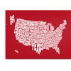 Michael Tompsett RED-USA States Text Map Canvas Print