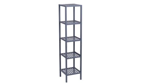 100% Bamboo Bathroom Shelf 5-Tier Multifunctional Storage Rack Shelving Unit