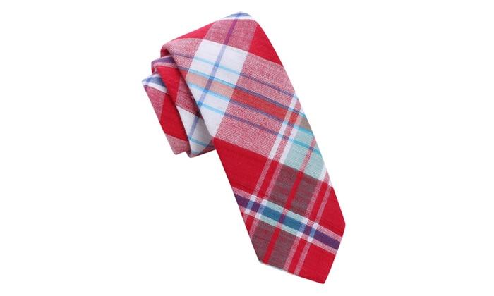Madras Style Plaid Skinny Tie with Clip