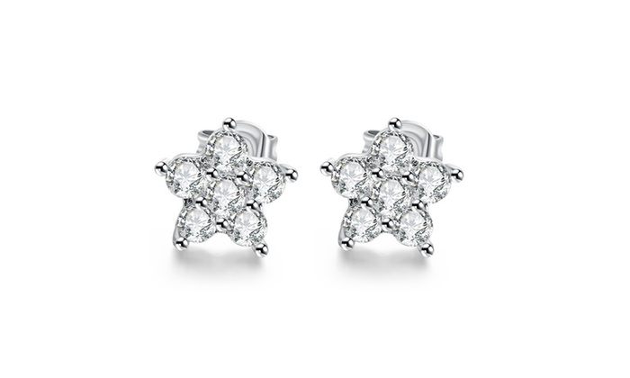 American Jewelry USA.: 18K White Gold Plated Flower Studded Earrings