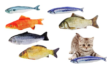 Cats Fish Catnip Simulation Plush Fish Shape Pillow Chew Bite Kick Toy