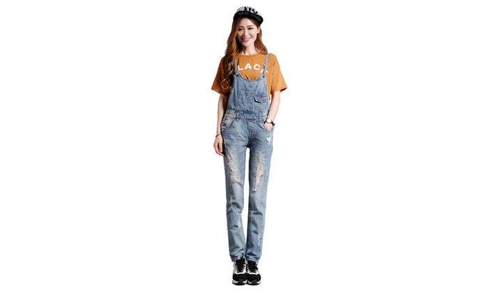 Women's Casual Destory Ripped Denim Overall Suspenders Jeans