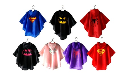 Kids Superman Waterproof Rainwear Spiderman Batman Raincoat With Hat 80177908-1cf6-43d8-9f6e-8cfd79aca452