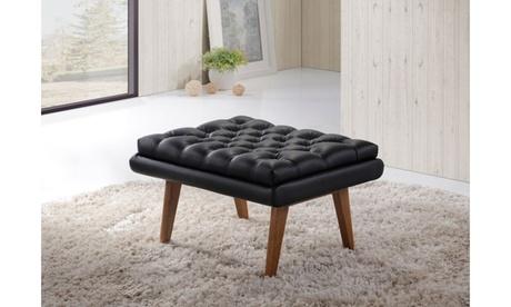 Annetha Mid-Century Modern Grey Fabric Upholstered Walnut Wood Ottoman