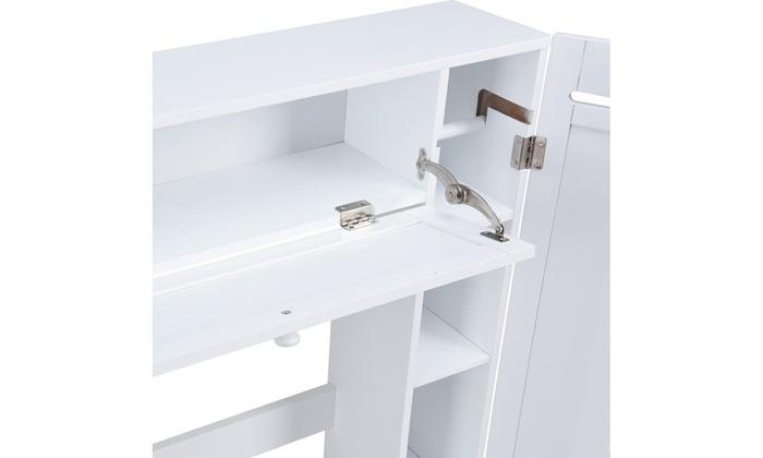 Over-the-Toilet Bathroom Storage Cabinet Wooden Drop Door Freestanding Spacesave