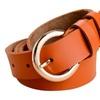 Women's Vintage Cow Leather Reversible Holes Prong Buckle Belt