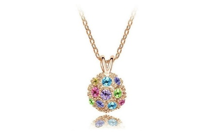 Czech Rhinestones Crystal Disco Ball Pendant Necklace bc18a9b1-83ee-488d-a21c-d55131bcf62d